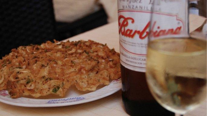 Tortillita de camarones. Restaurante Barbiana