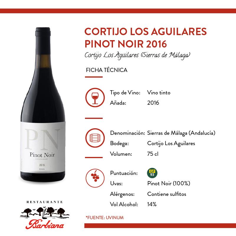 Ficha técnica Cortijo Los Aguilares Pinot Noir 2016
